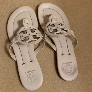 Tory Burch Metal Miller Sandal (White)